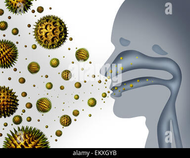 Hay fever and pollen allergies and medical allergy concept as a group of microscopic organic pollination particles flying in the