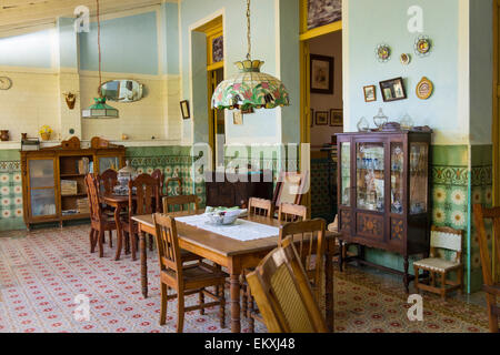 Cuba Trinidad Typical Cuban Home Old Antique Furniture Sideboard Vitrine Ornate Walls Tiles Lamp Shades