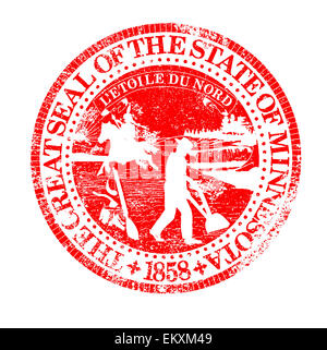 the state seal of south minnesota rubber stamp on a white background stock photo