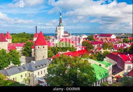 Scenic summer aerial panorama of Tallinn, Estonia - Stock Photo