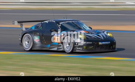 LE MANS, FRANCE - JUNE 15, 2014:  Porsche 911 GT3 RSR (#77 , LM GTE AM) of team  Dempsey Racing – Proton (USA) - Stock Photo