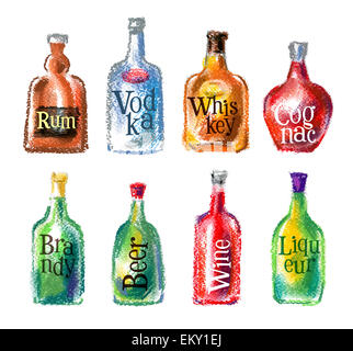 bottle vector logo design template. alcohol drink or cocktail icon. - Stock Photo