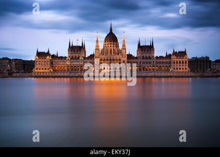 Hungarian Parliament Building at dawn, Budapest - Stock Photo