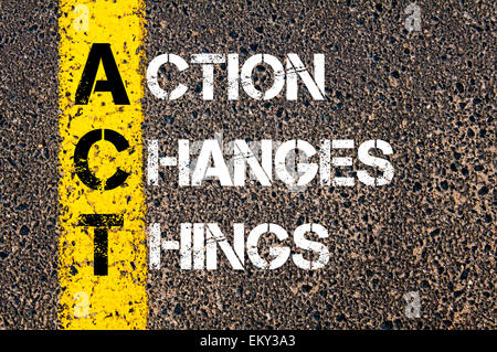 Action Changes Things - ACT Concept.  Conceptual image with yellow paint line on the road over asphalt stone background. - Stock Photo