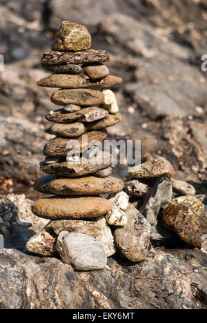 Tower of rocks form the sea side - Stock Photo
