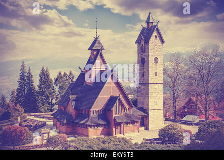 Vintage retro filtered old wooden temple Wang in Karpacz, Poland. - Stock Photo
