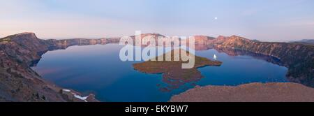 Oregon, United States Of America; Moon Rise Over Wizard Island In Crater Lake - Stock Photo