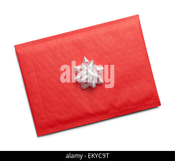 Christmas Letter Package with White Bow Isolated on White Background. - Stock Photo
