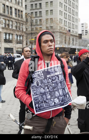 New York, New York, USA. 14th Apr, 2015. Thousands gathered in various US cities to send the message that murder - Stock Photo