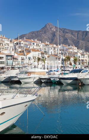 Luxury Yachts At Puerto José Banús In Costa Del Sol; Marbella, Malaga, Andalusia, Spain - Stock Photo