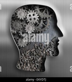 Metal brain. Thinking,  psychology, creativity, language concept.