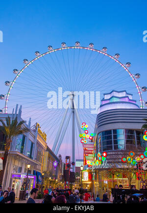 The High Roller at the Linq, a dining and shopping district at the center of the Las Vegas Strip - Stock Photo