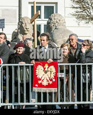 Warsaw, Poland - April 10, 2015: Smolensk Crash Anniversary - Stock Photo