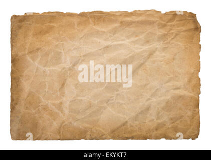 Dirty old parchment isolated on white background - Stock Photo