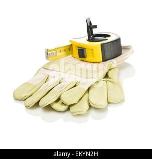 tapeline on gloves - Stock Photo