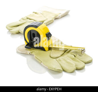 gloves with yellow tapeline - Stock Photo
