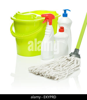 green mop and bucket with bottles - Stock Photo