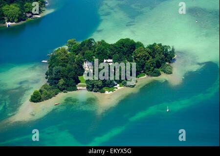 Roseninsel, Luftaufnahme, Starnberger See, Oberbayern, Bayern, Deutschland, Europa - Stock Photo