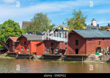 Riverside storage buildings on the river Porvoonjoki in the medieval town of Porvoo, Finland. - Stock Photo