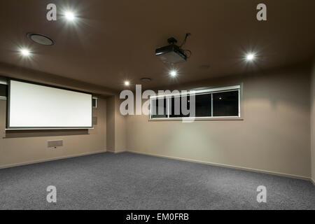 Home cinema in Australian mansion - Stock Photo