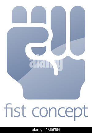 Fist icon concept illustration of a hand in in clench fist gesture - Stock Photo