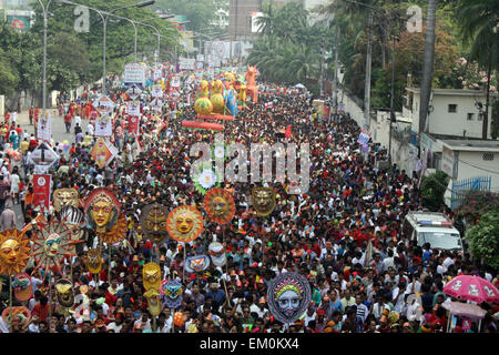"""Dhaka, Bangladesh. 14th April, 2015. Revellers attend a rally in celebration of the Bengali New Year or """"Pohela - Stock Photo"""