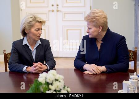 Vilnius, Lithuania. 15th Apr, 2015. Lithuanian president Dalia Grybauskaite (R) meets with German defense minister - Stock Photo