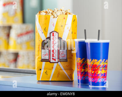 Popcorn And Drinks On Concession Stand - Stock Photo
