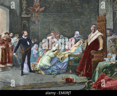 William Shakespeare (1564-1616). English writer. Hamlet. Queen Gertrude dies poisoned after drinking to the health - Stock Photo