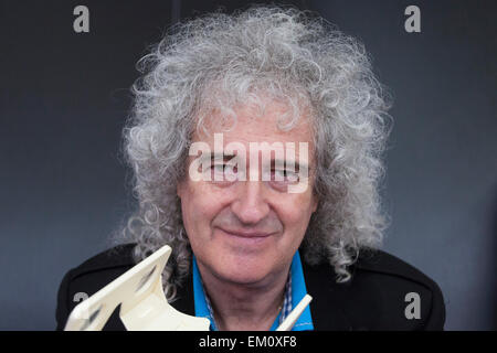 London, UK. 15 April 2015. Dr Brian May, Queen guitarist and astrophysicst, attends the London Book Fair to talk - Stock Photo