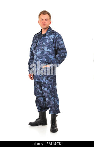 man in blue camouflage - Stock Photo