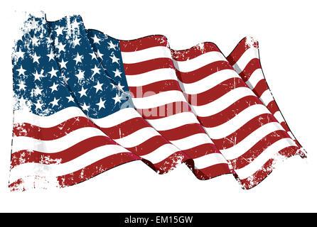 US Flag WWI-WWII (48 stars) Grunge - Stock Photo