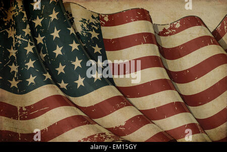 US Flag WWI-WWII (48 stars) Old Paper - Stock Photo
