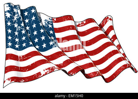 US Flag WWI-WWII (48 stars) Scratched - Stock Photo