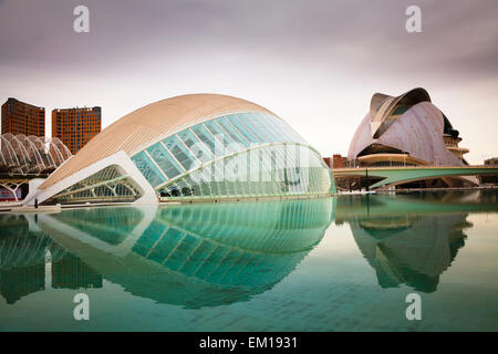 Exterior of the Hemisferic and Palau de les Arts Reina Sofia in Valencia spain - Stock Photo