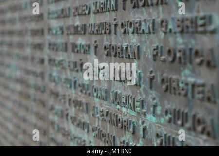 Details of the monument in Revolution Square with  names of people who died in the revolution in Bucharest, Romania. - Stock Photo