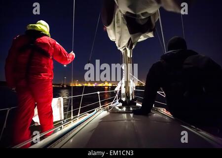 Arriving to the harbor of Tallinn, Estonia, Europe, EU - Stock Photo