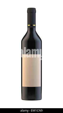 3d rendering of wine bottle with blank lable isolated on white background - Stock Photo