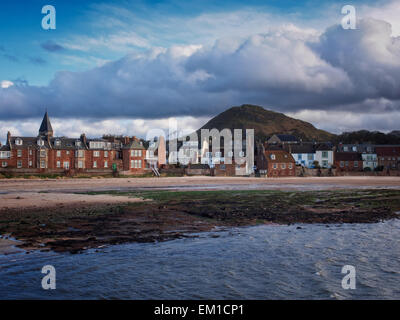 Clouds over the seaside town of North Berwick, East Lothian, Scotland. The hill is North Berwick Law, an ancient - Stock Photo