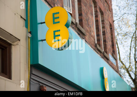Sign outside a shop for EE mobile phone provider - Stock Photo