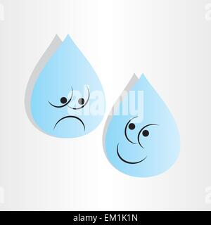 drops of  blue water sad worry and happy emotion cartoon - Stock Photo