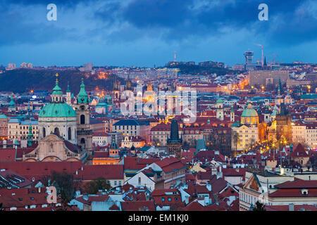 Prague. Image of Prague, capital city of Czech Republic during twilight blue hour. - Stock Photo
