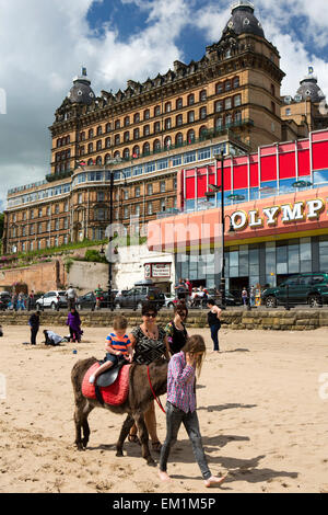 UK, England, Yorkshire, Scarborough, South Sands donkey giving ride to child - Stock Photo