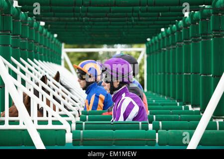 Horseback Riders Wait In The Starting Gates; Naas County Kildare Ireland - Stock Photo