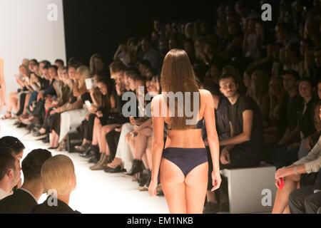 Mercedes Benz Fashion week Australia, model showcases latest designs of australian swimwear brand,Fella, on  the - Stock Photo