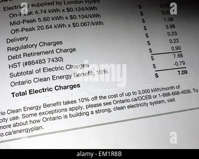 An image of an itemized electricity bill. - Stock Photo