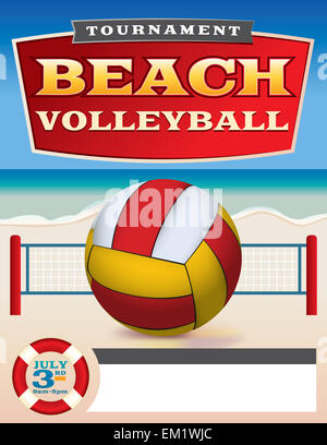 A Flyer Or Poster Template For A Beach Volleyball Tournament Vector