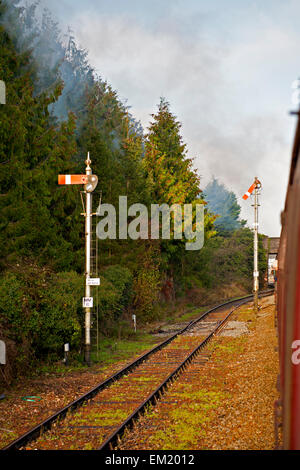 Lower Quadrant Stop Semaphore Signals seen from a train - Stock Photo