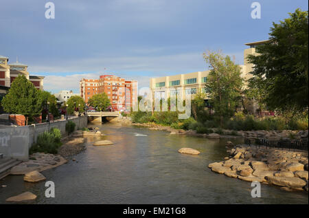 Truckee river in downtown Reno, Nevada, USA - Stock Photo