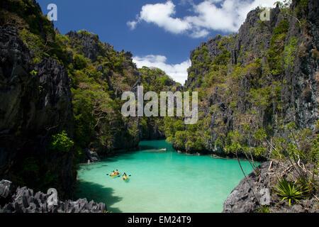 Small Lagoon Near El Nido And Corong Corong; Miniloc Island Bacuit Archipelago Palawan Philippines - Stock Photo
